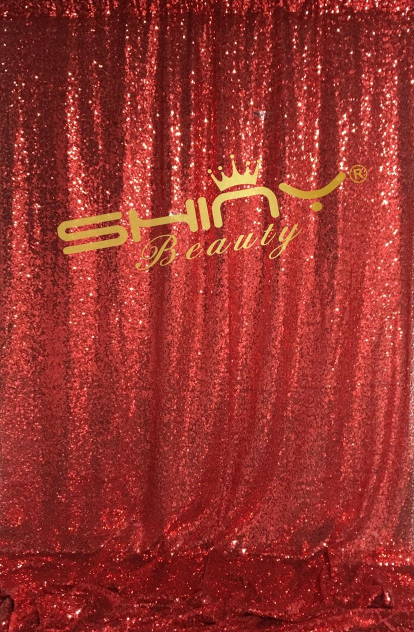 ShinyBeauty 4FTx7FT Red Sequin Backdrop Sequin Curtains Panels For Home Windows Decor