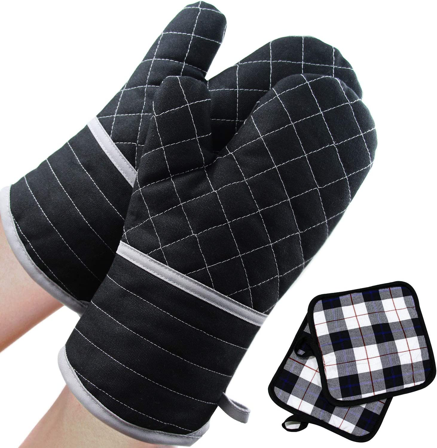 SANXIA Oven Mitts and Pot Holders, 500℉ Heat Resistant Kitchen Cooking Microwave Baking Mitts Gloves (Black) (1 Pair)