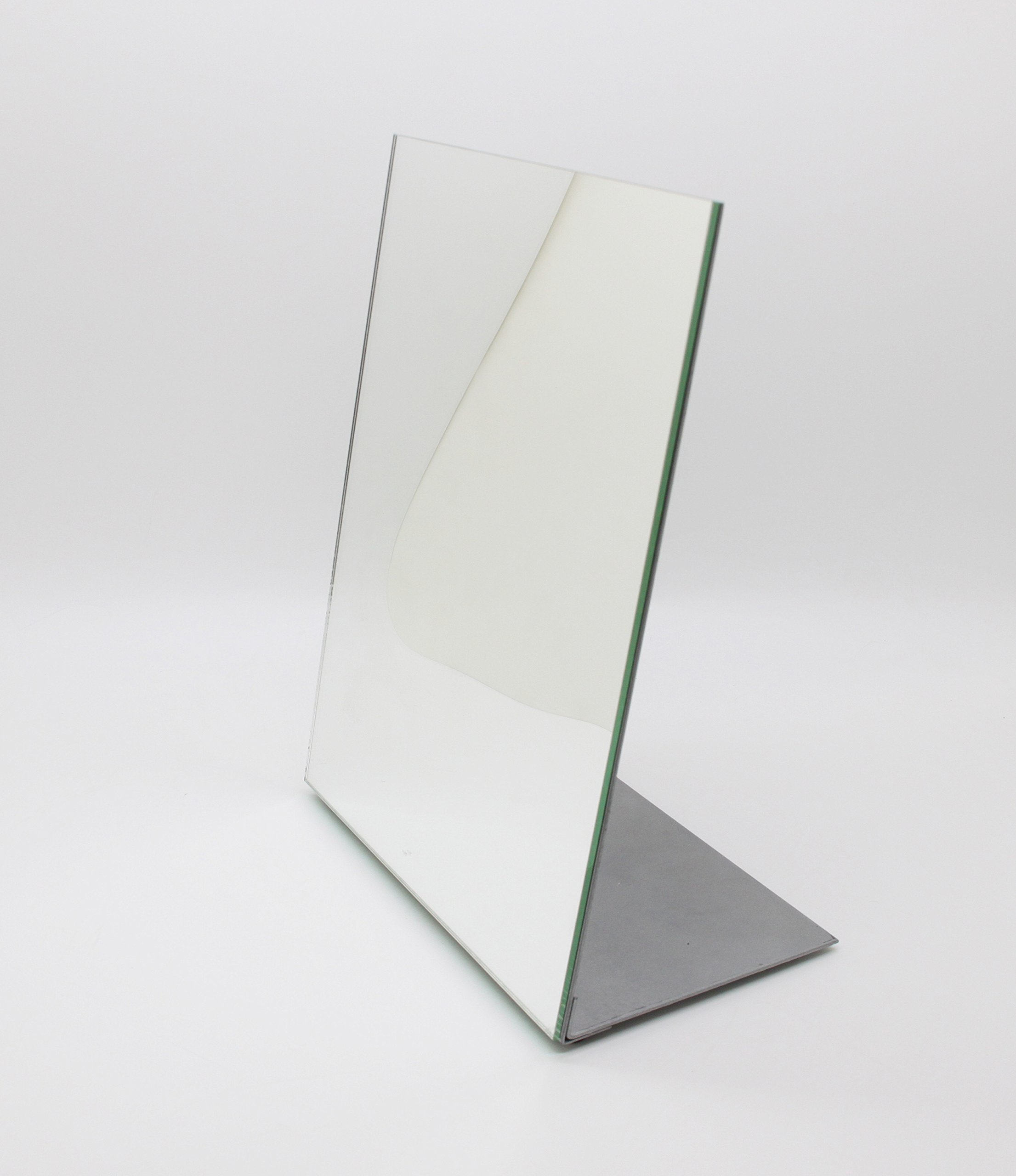 "FixtureDisplays 8.5x10.8"" Metal Retail Make-up Glass Mirror 15948! - FixtureDisplays 8.5 x 11"" Self-Portrait Slanted Metal Retail Make up Glass Mirror. Use at home,trade shows, office, retail stores for make up or jewelry, spas! This metal/glass mirror weighs 3.3 lbs. Easily assembled or to knock down for travel. An end to the problems with hand-held or flimsy, small mirrors that won't stay straight. 8.5"" x 11"" glass mirror mounted on carbon steel frame. Steel is powder coated silver in color. Steel base is 4.5"" wide for superior stability. Leans slightly (78 degree) back for ease of observation. Overall dimmensions: 8.5"" W x 10.8"" H x 4.5"" depth. Shipping to Canada and Mexico: import duty and fees apply. - mirrors-bedroom-decor, bedroom-decor, bedroom - 81KJZjr3FjL -"