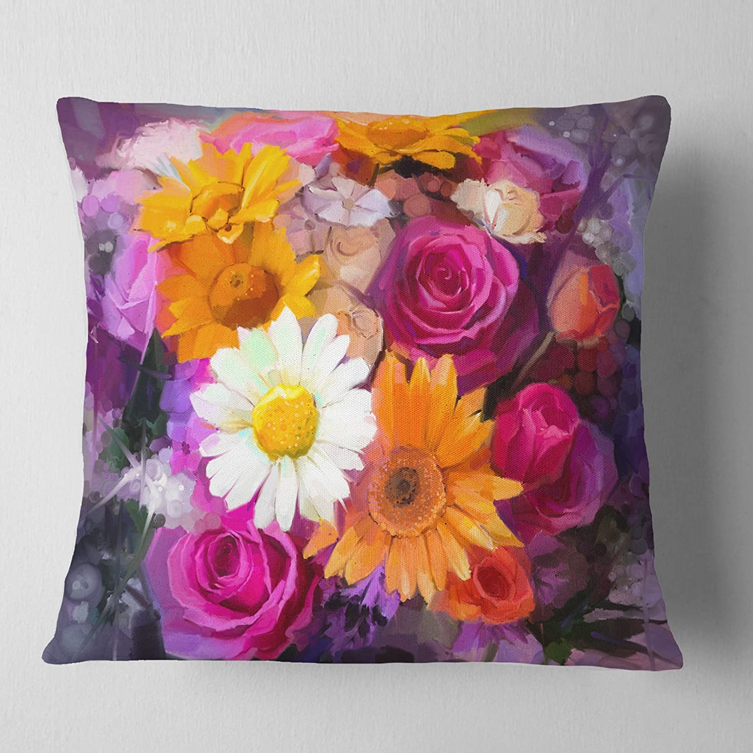 Sofa Throw Pillow 18 x 18 Designart CU14129-18-18 Bouquet of Flowers Watercolor Floral Cushion Cover for Living Room
