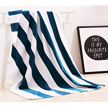 """Exclusivo Mezcla 100% Cotton Oversized Large Beach Towel,Pool Towel (35""""x70)—Soft, Quick Dry, Lightweight, Absorbent, and Plush"""