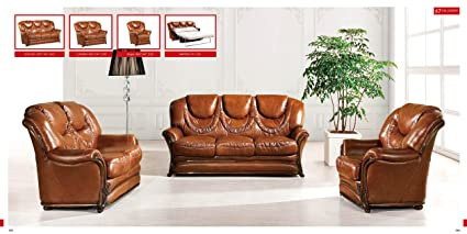 Amazon.com: ESF Modern 67 Full Brown Italian Leather Sofa Set ...