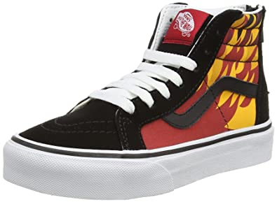 edfe3f4564a Vans Boy s SK8-HI Zip (Flame) Black Racing Red Skateboarding Shoe  VN000W9WIQE