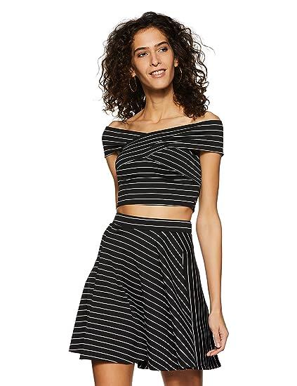 Veni VIDI VICI Black Striped Co-Ordinate Bandage Bardot Skater Dress ... c8816ce31