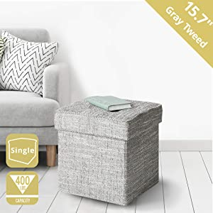 "Seville Classics WEB596 15.7"" Tweed Foldable Storage Ottoman Footrest Toy Box Coffee Table Stool, Single"