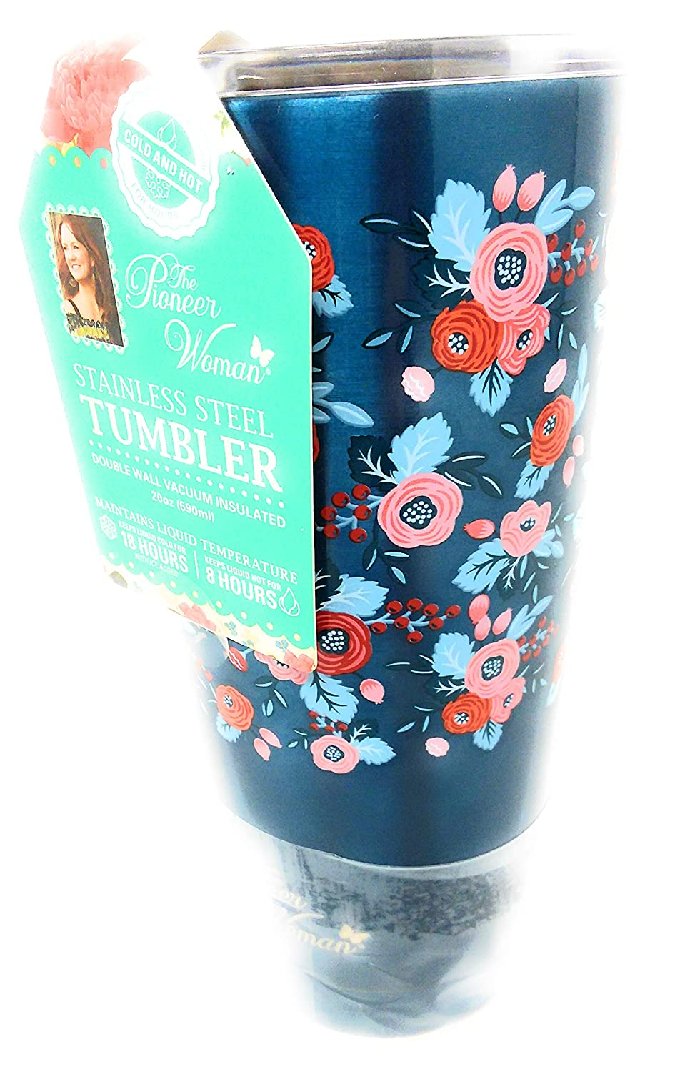 The Pioneer Woman Stainless Steel Tumbler 20 oz Many Colors Hot Cold Insulated 18 hours (Blue, 20 ounce)