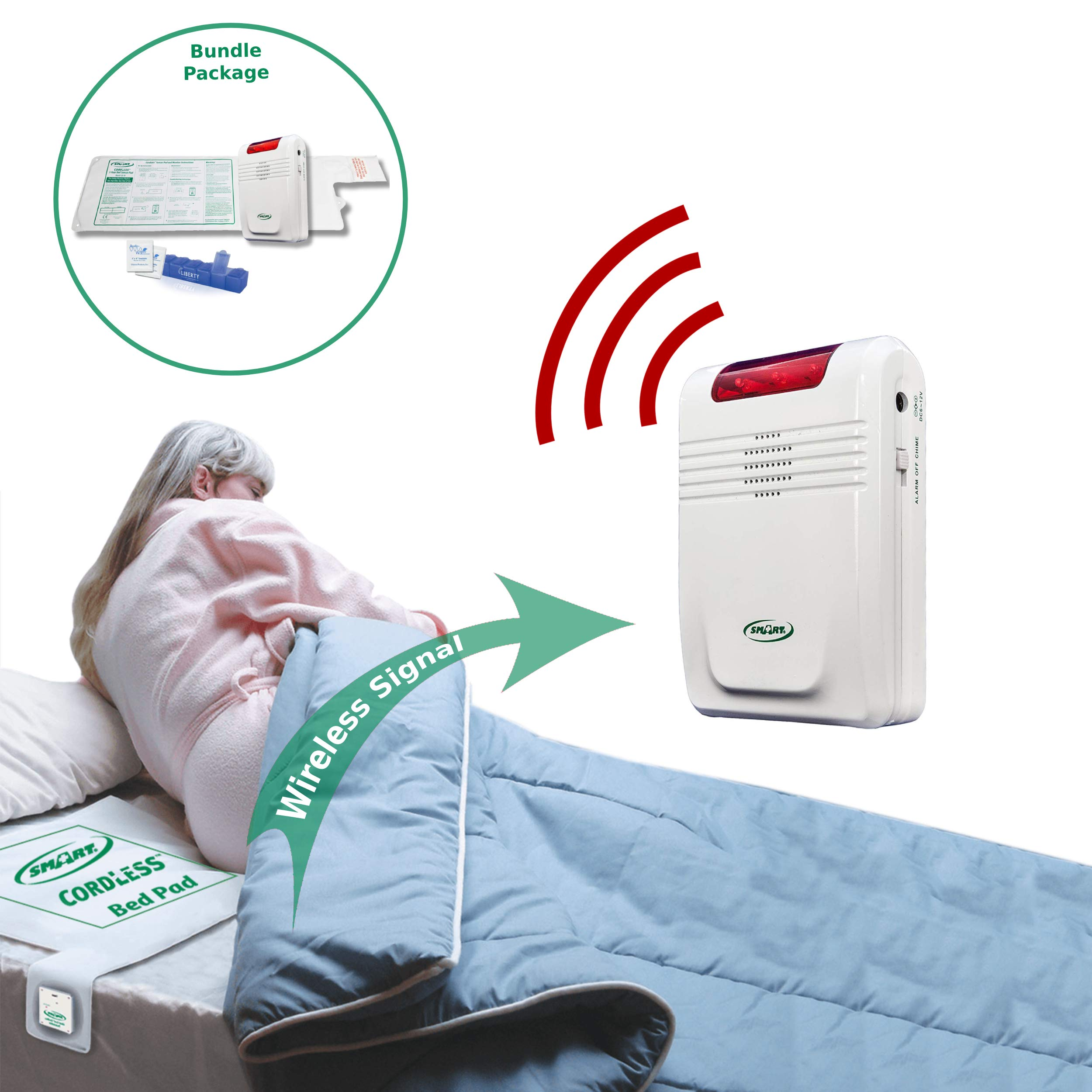 Smart Caregiver Wireless Bed Alarm System - Cordless Weight Sensing Bed Alarm Pad (10'' x 30'') with Remote Alert Monitor, 20 Individual Cleaning Wipes and Liberty 7 Day Pill Box by Smart Caregiver Corporation