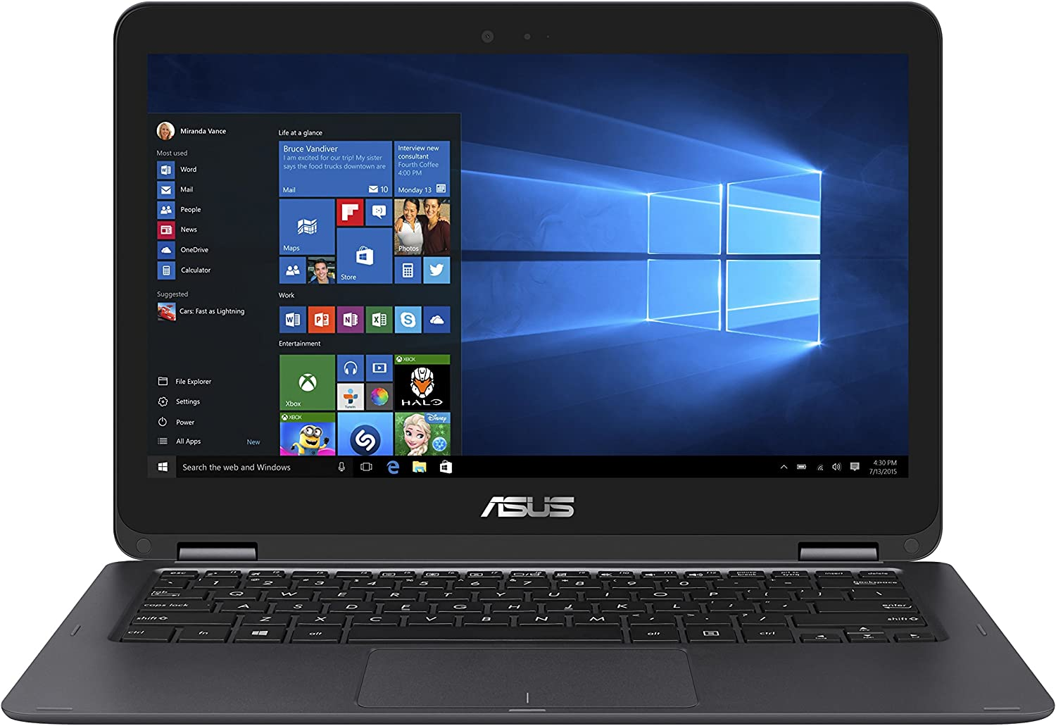 "ASUS ZenBook Flip UX360CA-UHM1T 13.3"" 2-in 1 Laptop, Touchscreen, Intel Core m3-7Y30 Processor, 8GB RAM, 256GB Solid State Drive, Windows 10"