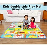 Baby mat Crawling Play mats for Baby Kids Gym Crawl Carpet Infant Care Waterproof Mattress 6 Feet x 5 Feet Large Size