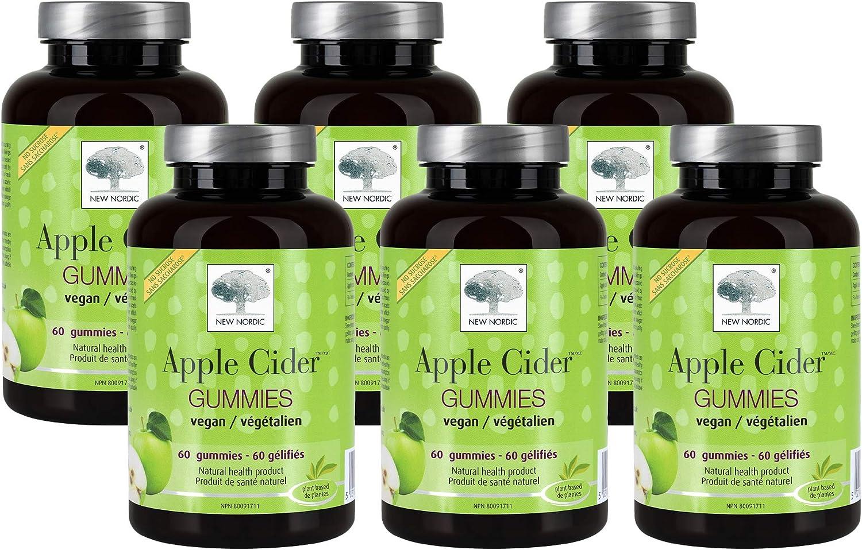 New Nordic Apple Cider Gummies   Vegan Chewable ACV Wellness Supplement   No Vinegar Taste   60 Count (Pack of 6)