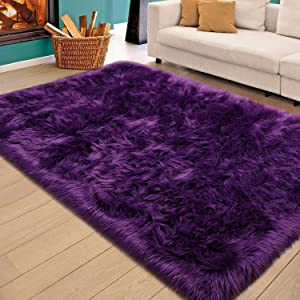 Homore Soft Fluffy Faux Fur Area Rug for Bedroom Living Room, Extra Comfy and Fuzzy Rugs, Washable Plush Carpet for Bed Home Decor, 4x5.9 Feet Purple