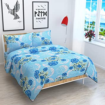 3d Home Design White Cotton Reversible Double Bed Dohar with Zip Closure