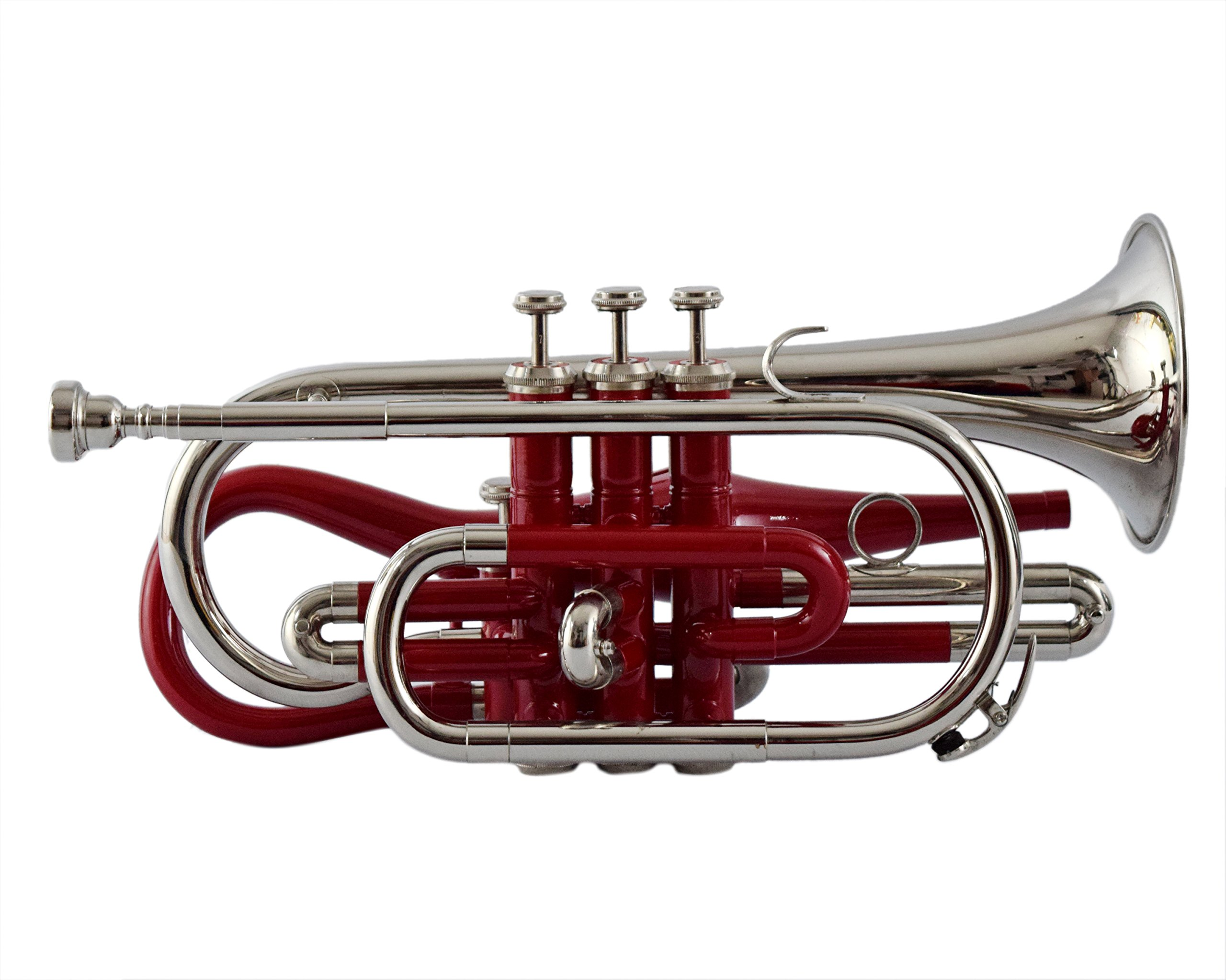 NASIR ALI BEAUTIFUL CORNET BP PITCH RED+ NICKEL COLORED WITH CASE AND MP by NASIR ALI (Image #2)