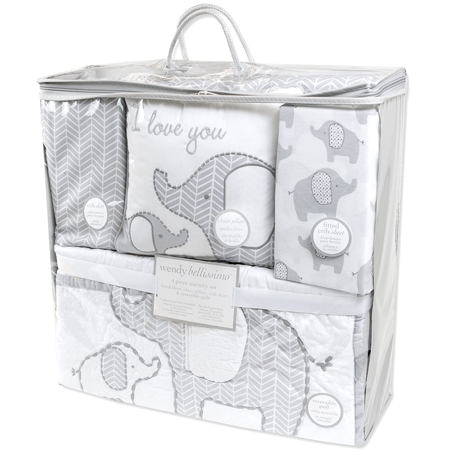 Amazon.com : Wendy Bellissimo 4pc Nursery Bedding Baby Crib Bedding Set - Elephant Crib bedding from the Elodie Collection in Grey and Pink : Baby