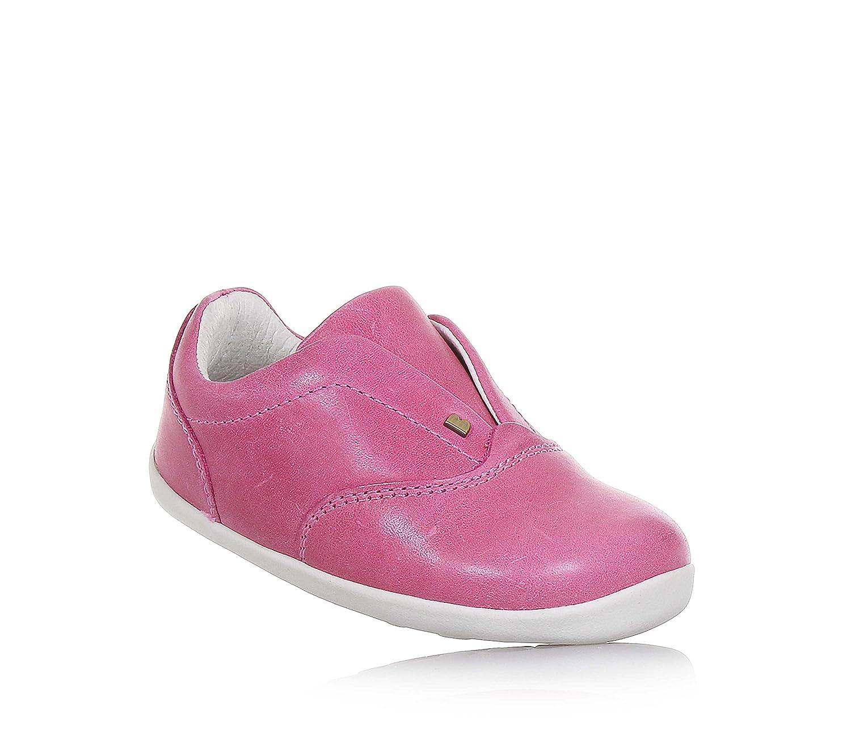 Bobux Chaussure Rose en Cuir, Modèle Step Up, Bandes Élastiques Cachées, Coutures Visibles, Bébé Fille, Filles