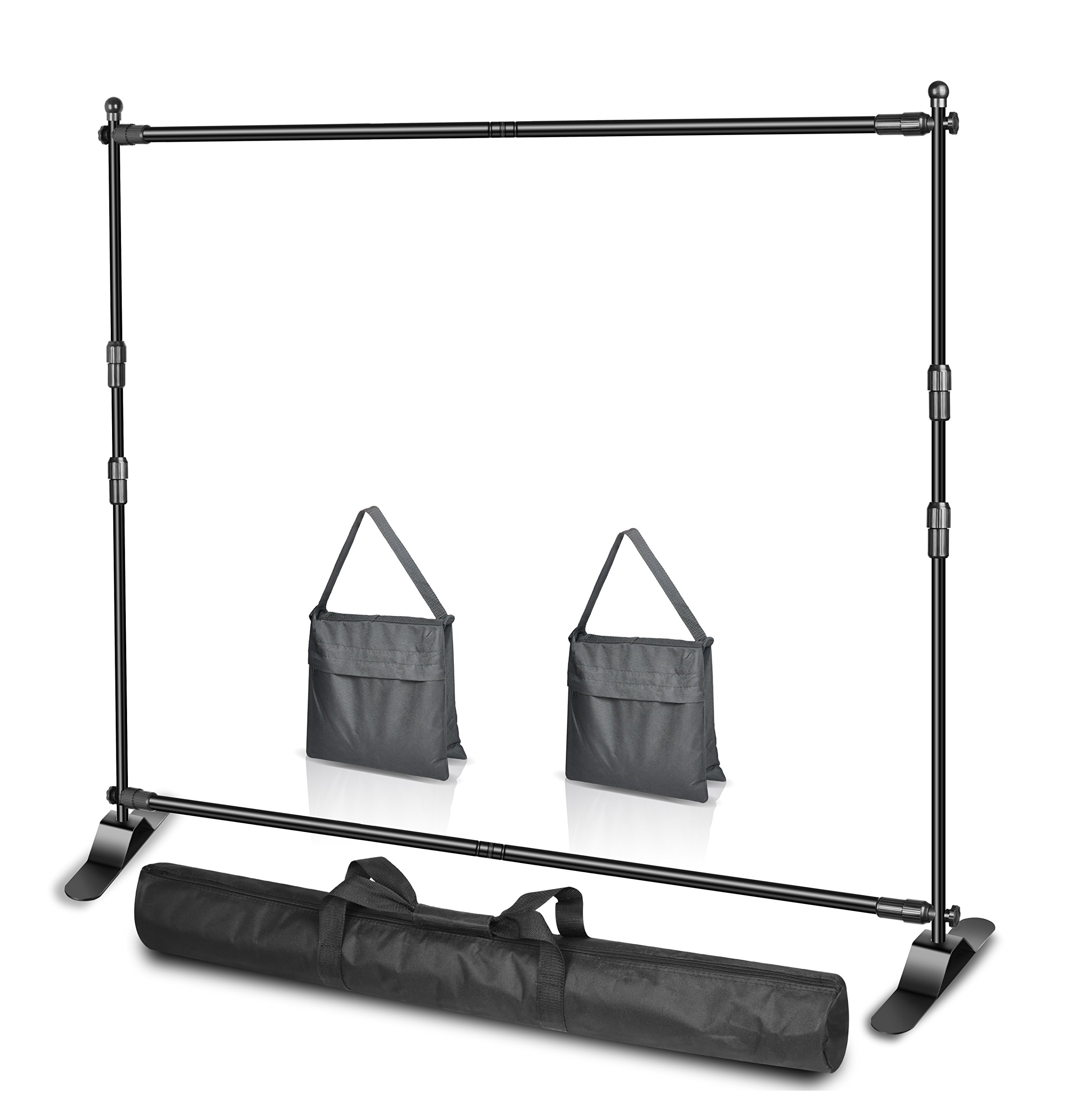 Emart 10 x 8ft (W X H) Photo Backdrop Banner Stand Heavy Duty - Adjustable Telescopic Tube Trade Show Display Stand, Step and Repeat Frame Stand for Professional Photography Booth Background Stand Kit by EMART