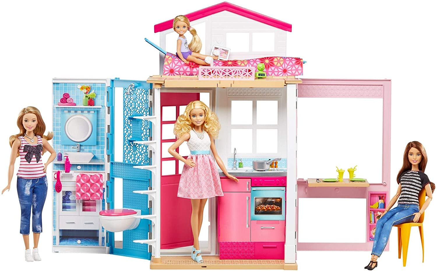 Barbie 2-Story House with Furniture & Accessories Mattel DVV47