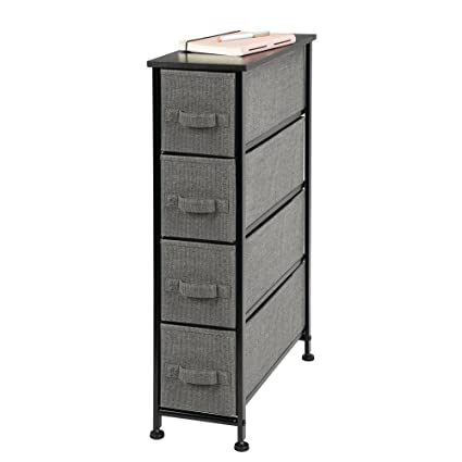 MDesign Narrow Vertical Dresser Storage Tower   Sturdy Frame, Wood Top,  Easy Pull Fabric