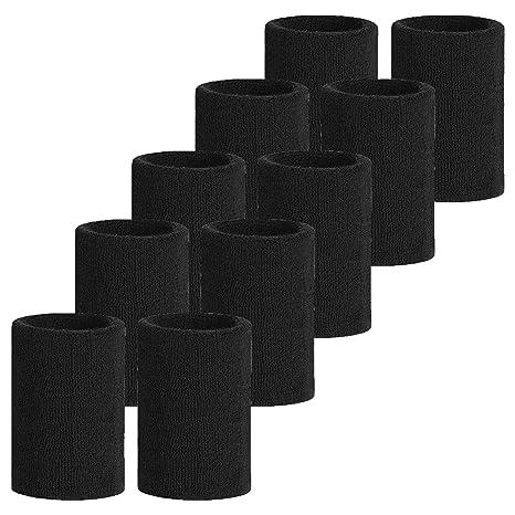 Meta-U 5 pares Comercio al por mayor Negro suave Espesar algodón Muñequeras