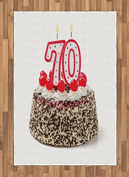 Ambesonne 70th Birthday Area Rug Cake With 70 Number Candles And Sprinkles Party Event