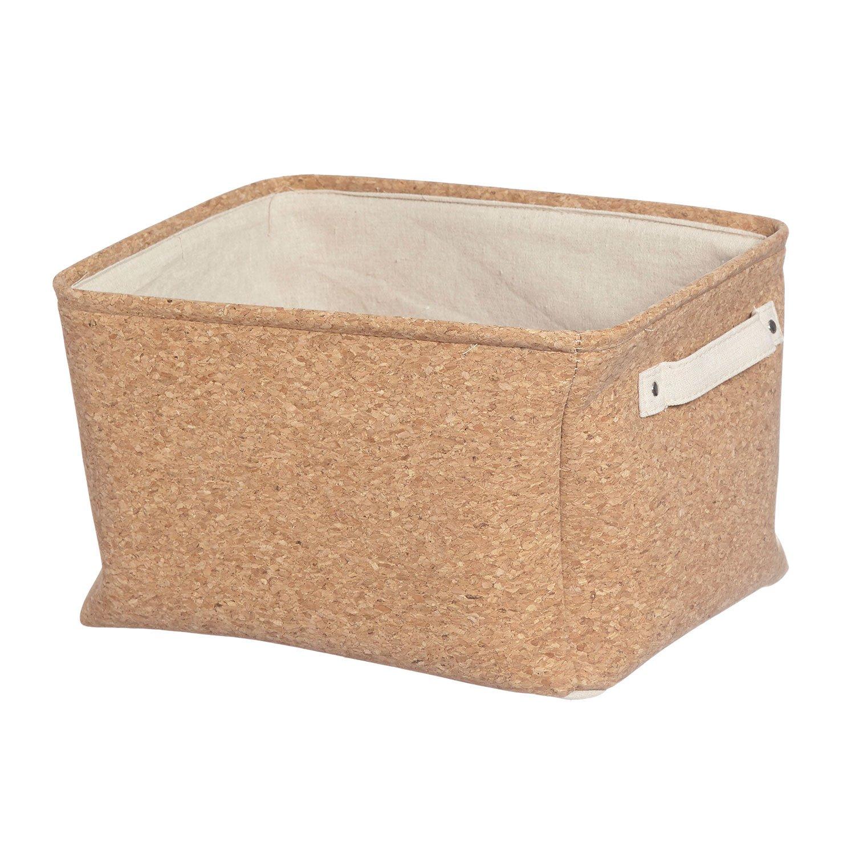 Furniteam - Cajas de almacenaje (3 Unidades, Tela, Corcho Natural, 41 x 36 x 24 cm): Amazon.es: Hogar