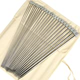 """H&S® 11 Pairs of 14"""" (36cm) Stainless Steel Single Pointed Knitting Needles Kit Set in Case 2.0mm 2.5mm 3.0mm 3.5mm 4.0mm 4.5mm 5.0mm 5.5mm 6.0mm 7.0mm 8.0mm"""