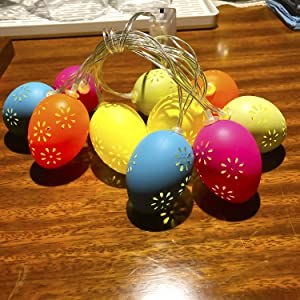 PheiLa 2 Pack 10LED Egg String Lights Easter Decorations Spring Colors Hollowed Easter Egg Light Battery Operated for Spring Decor Happy Easter Day Outdoor Indoor Home Bedroom Party Decoration
