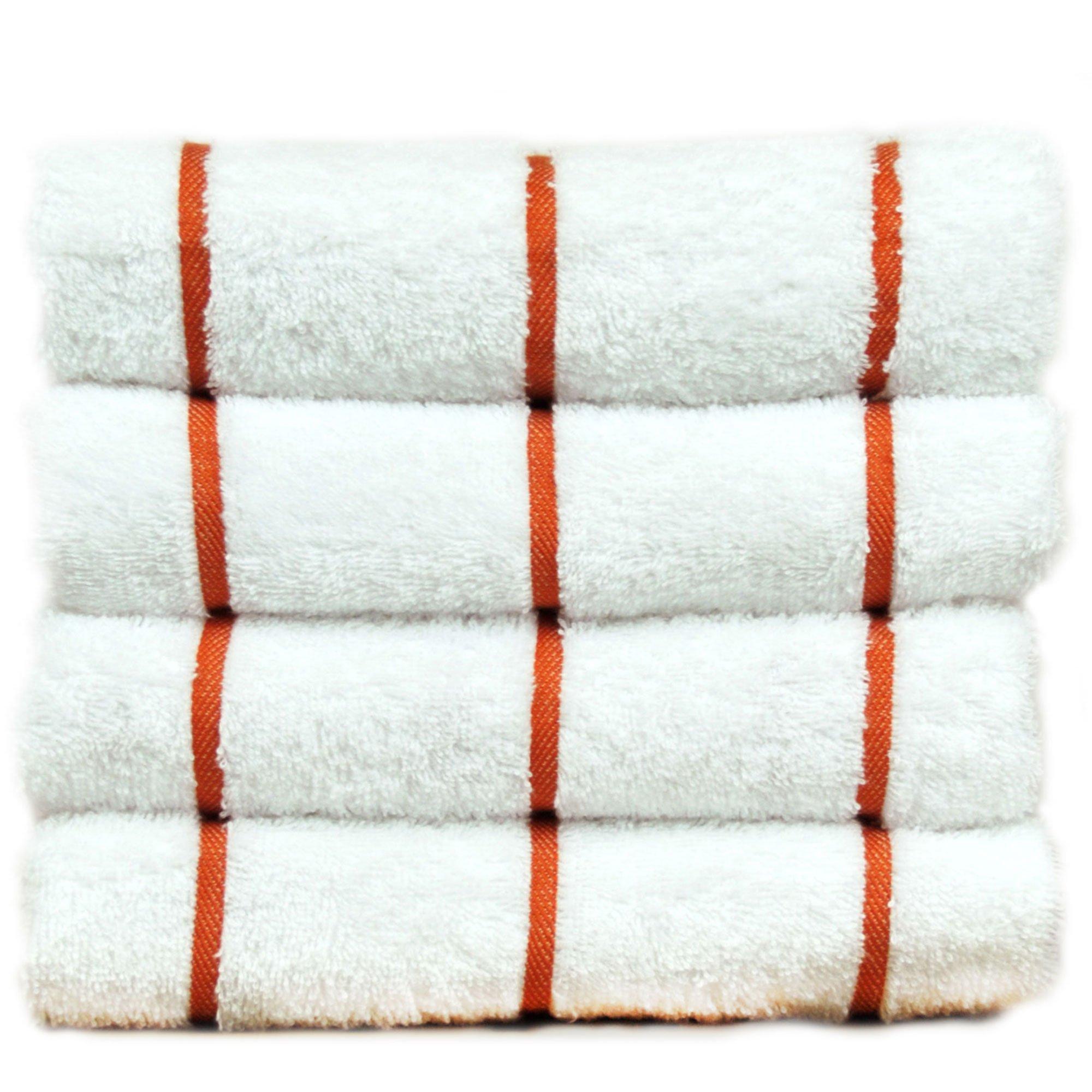 Luxury Hotel & Spa Towel Turkish Cotton Pool Beach Towels - Brick Red - Striped - Set of 4