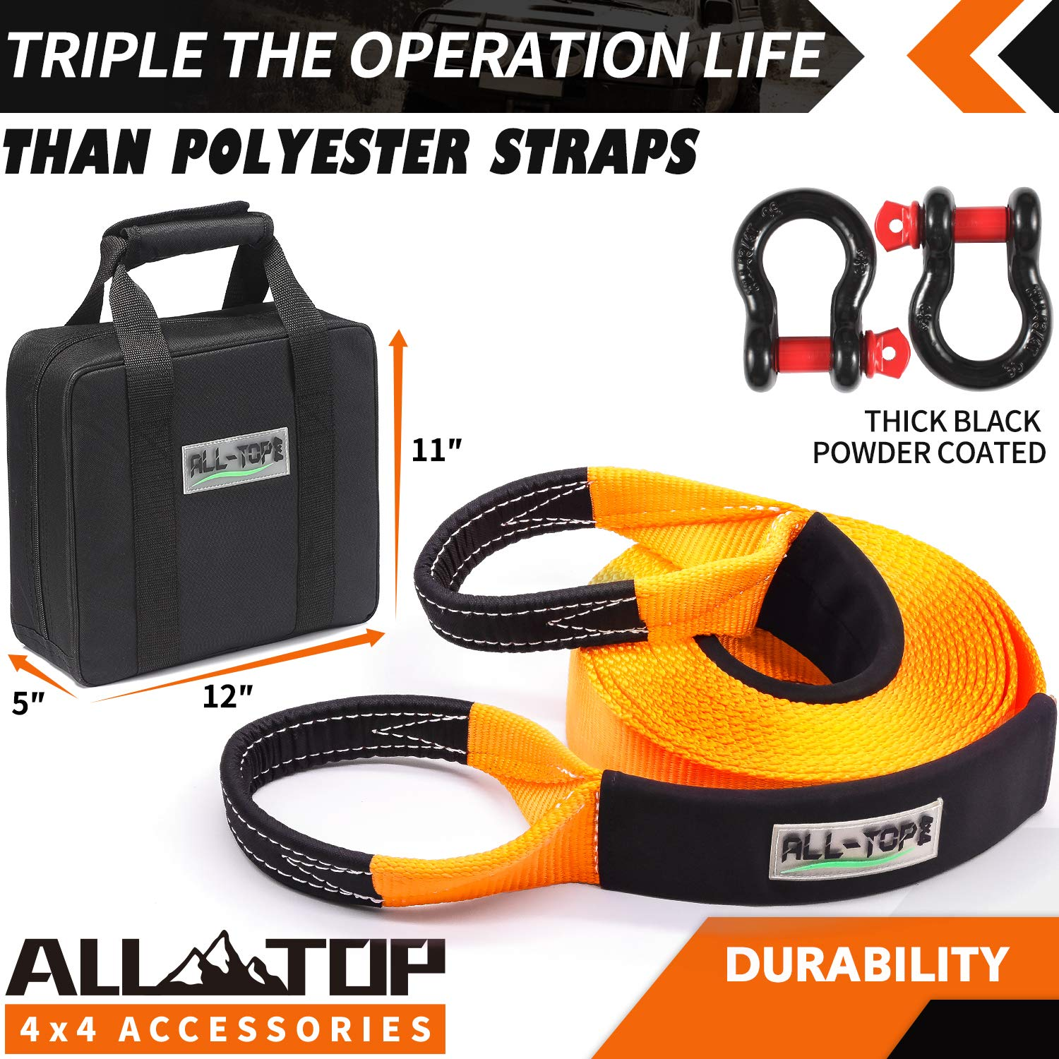 2pcs ALL-TOP Heavy Duty Tow Strap Recovery Kit : 3 inch x 30 ft + Storage Bag 100/% Nylon and 22/% Elongation Snatch Strap 32.000 lbs 3//4 Heavy Duty D Ring Shackles