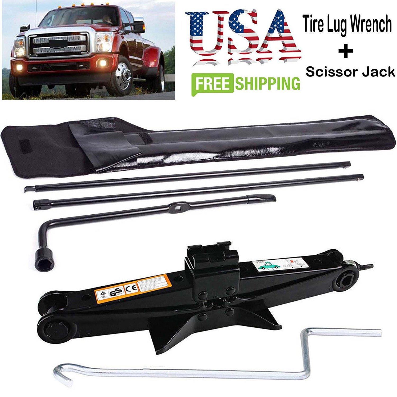 Tire Lug Wrench Kit Super Duty For Ford F250 F350 F450 F550 03-07+ 2 Ton Scissor Jack Bowoshen