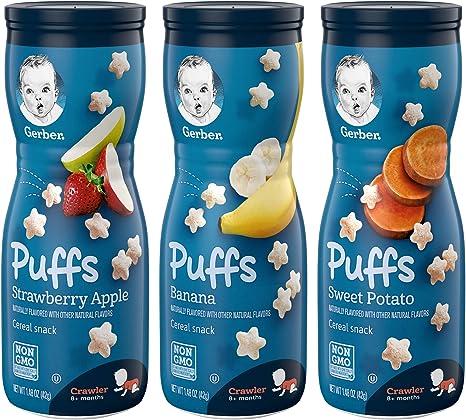Gerber Graduates Puffs - Variety Pack - 1.48 oz - 3 pk by Gerber: Amazon.es: Bebé
