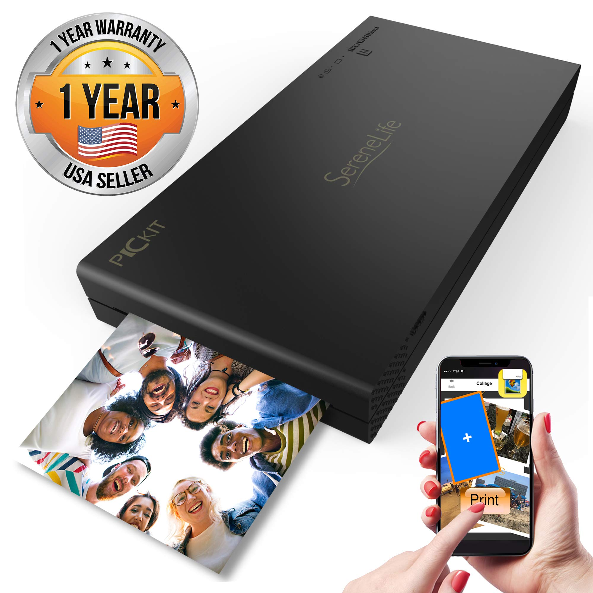 Portable Instant Mobile Photo Printer - Wireless Color Picture Printing from Apple iPhone, iPad or Android Smartphone Camera - Mini Compact Pocket Size Easy for Travel - SereneLife PICKIT22BK (Black) by SereneLife