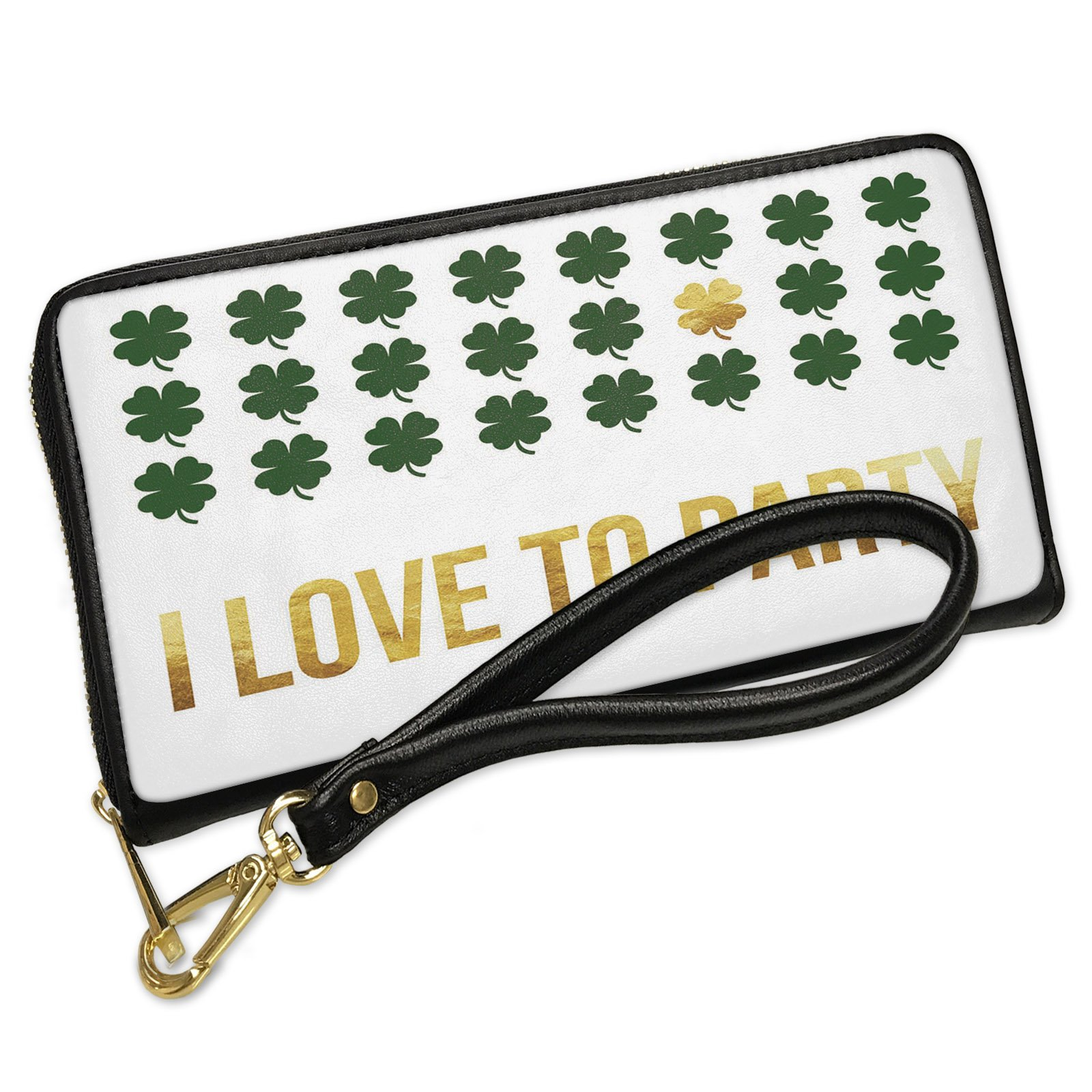 Wallet Clutch I Love To Party St. Patrick's Day Gold Shamrock with Removable Wristlet Strap Neonblond