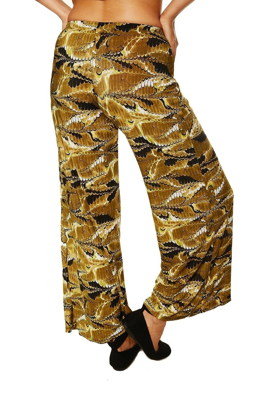 24/7 Comfort Apparel Women's Printed Palazzo Wide-leg Pants