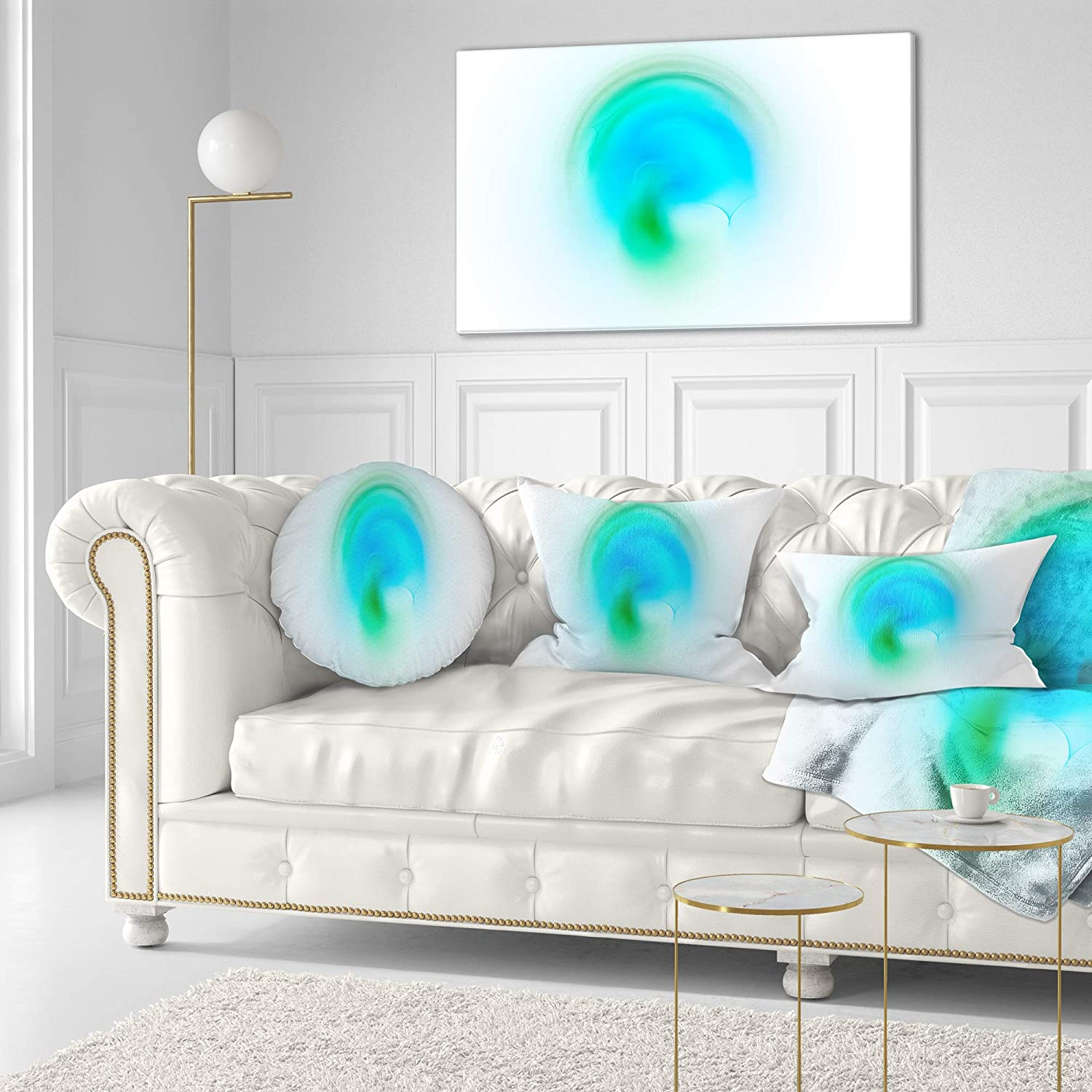 Designart CU16154-12-20 Green Luminous Misty Sphere Abstract Lumbar Cushion Cover for Living Room Sofa Throw Pillow 12 in x 20 in in
