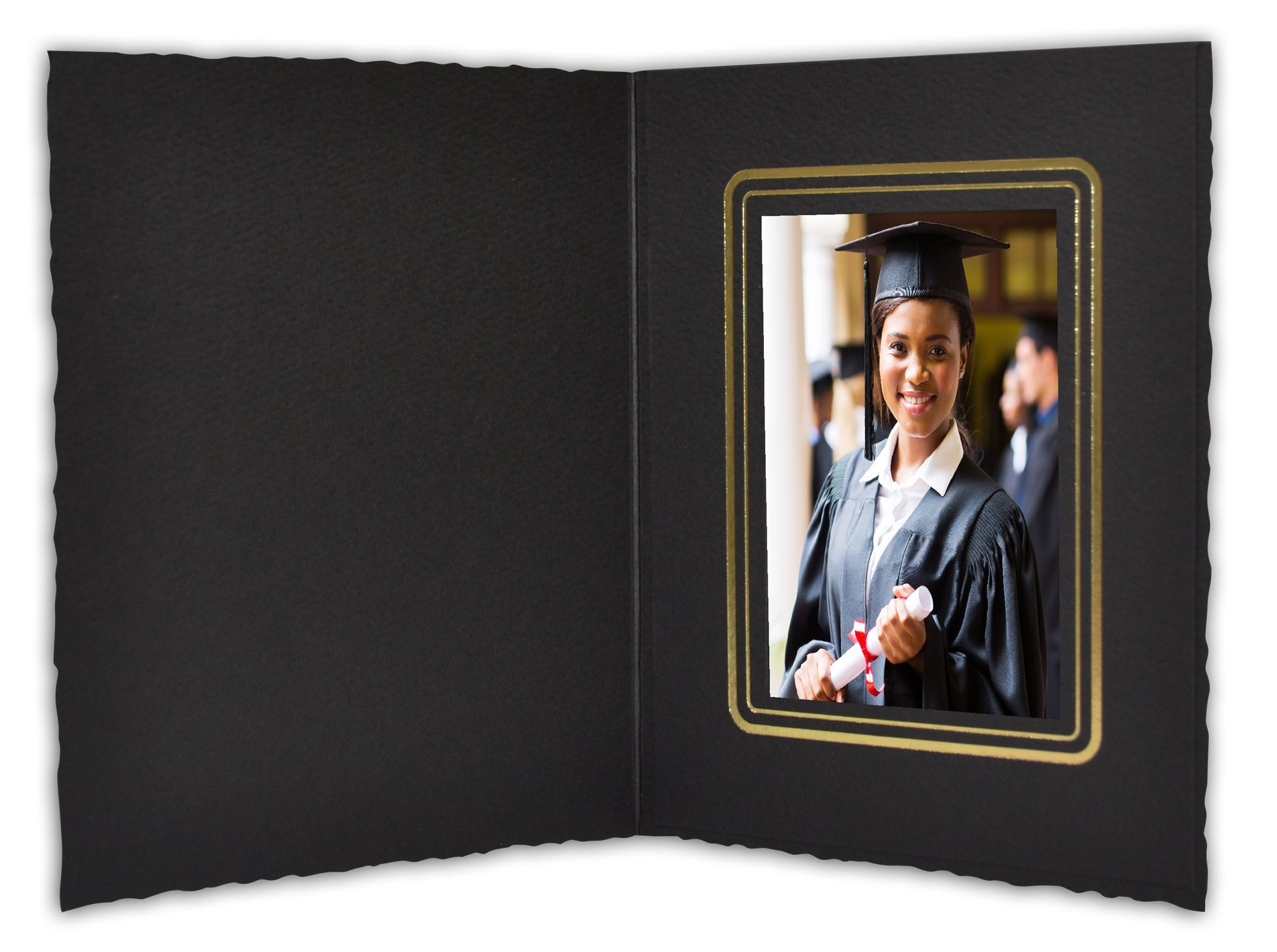 Golden State Art, Cardboard Photo Folder for a 2.5x3.5 Photo (Pack of 100) GS008 Black Color