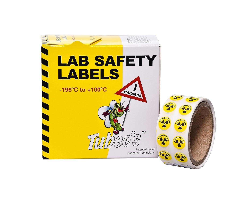 Camlab Plastics RTP/120 Tubee's Hazard Labels, Radioactive, Reel, Yellow (Pack of 500) 1158122