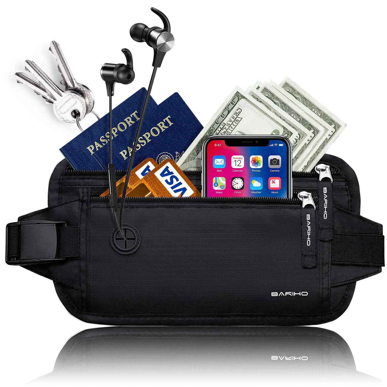 BARIHO Travel Money Belt Wallet, Hidden Waist Secure Fire Blocking Passport Holder, Ideal Comfort For Men and Women
