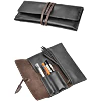 ZLYC Handmade Leather Pen Case Pencil Holder Soft Roll Wrap Bag Pouch Stationery Gift for Students