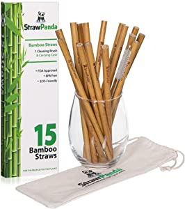 "Organic Reusable Bamboo Drinking Straws by StrawPanda- (15 Pack) 8"" biodegradable straws includes cleaning brush and carrying case, perfect for kids and adults. Great plastic alternative"