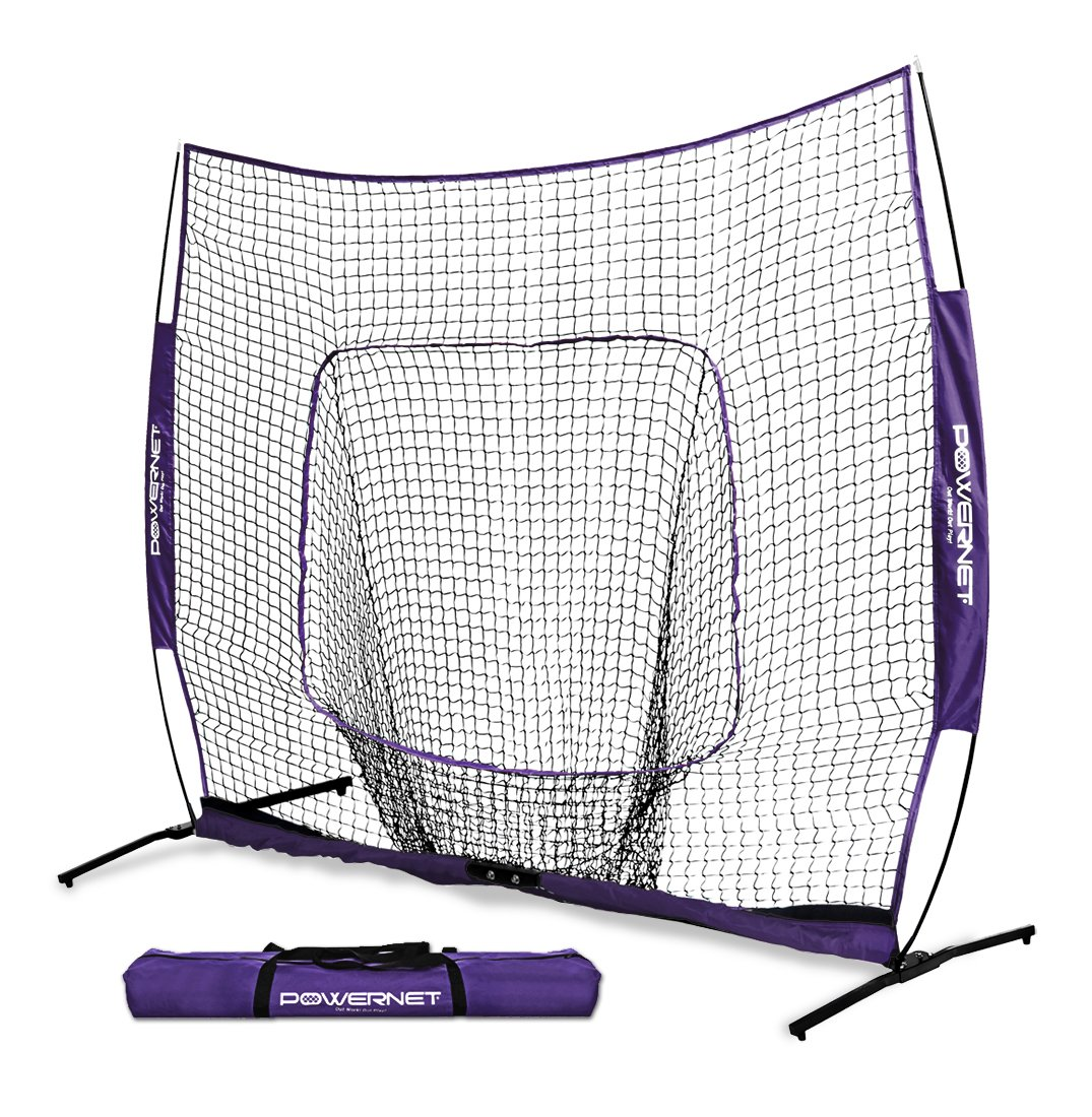 PowerNet 7x7 PRO Net with One Piece Frame (Purple) | Baseball Softball Practice Net | Training Aid for Hitting Pitching Batting Fielding Portable Backstop | Bow Style Frame | Non-Tip Weighted Base by PowerNet