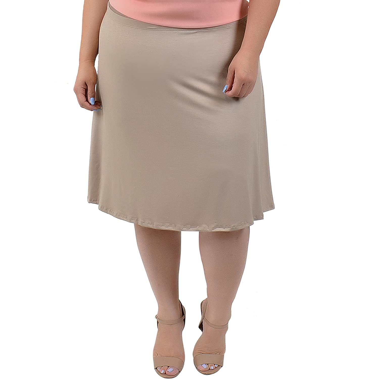 4b561598b40 Stretch is Comfort Women s Plus Size A-Line Knee Length Light Weight Skirt  at Amazon Women s Clothing store