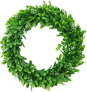 """ElaDeco 15"""" Faux Boxwood Wreath Artificial Green Leaves Wreath for Front Door Wall Window Hanging Wedding Party Decoration"""