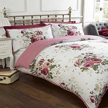 Hallways Masie Doppelbett Größe Dusky Pink Grün Weiß Blumen Rosen