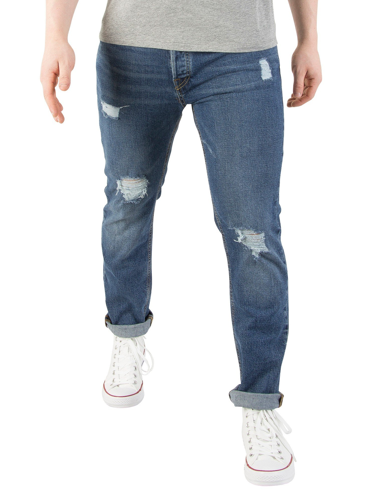 Jack & Jones Men's Tim Original 691 Slim Fit Jeans, Blue, 34W x 32L