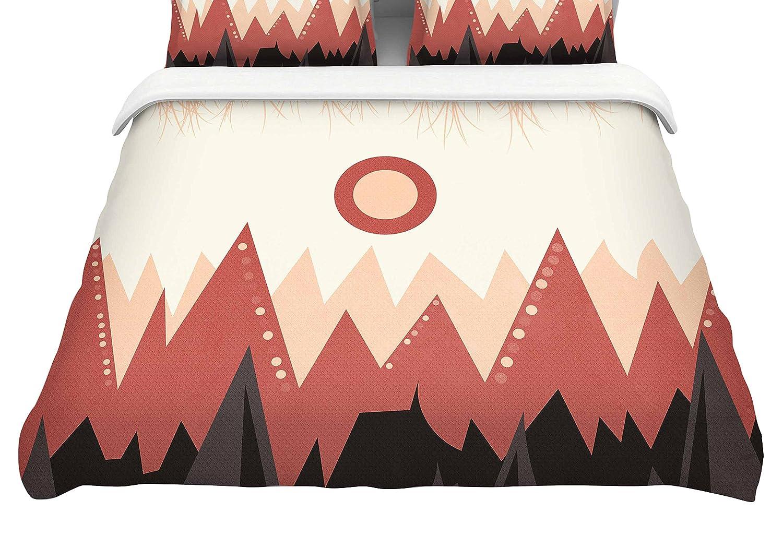 104 x 88, Kess InHouse Viviana Gonzalez Landscape A Brown CoralKing Cotton Duvet Cover