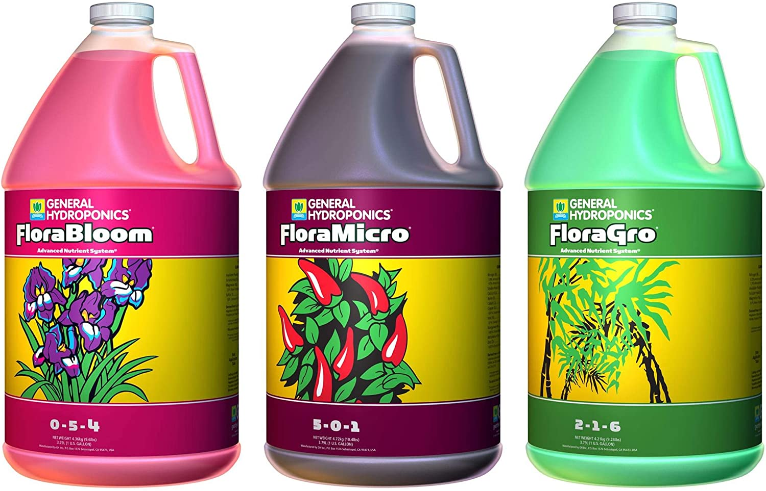 General Hydroponics Flora Grow, Bloom, Micro Combo Fertilizer set, 1 Gallon (Pack of 3)