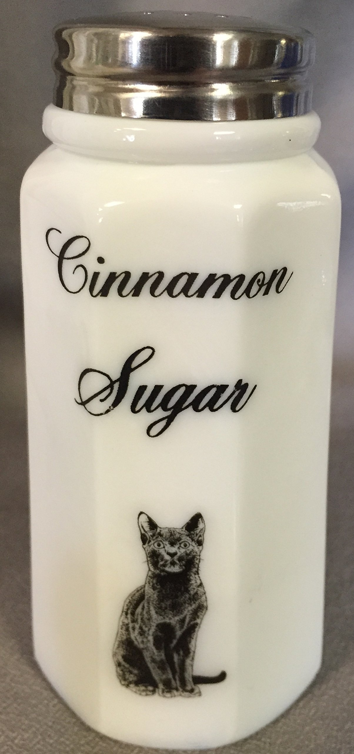 Cinnamon Sugar Shaker - Paneled - Mosser - American Made (Milk w/Black Cat)