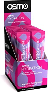 Osmo Nutrition Active Hydration   20-Count Single Serve Box   During-Exercise Electrolyte Powdered Drink   Fastest Way to Rehydrate   All Natural Ingredients   Blueberry Pomegranate