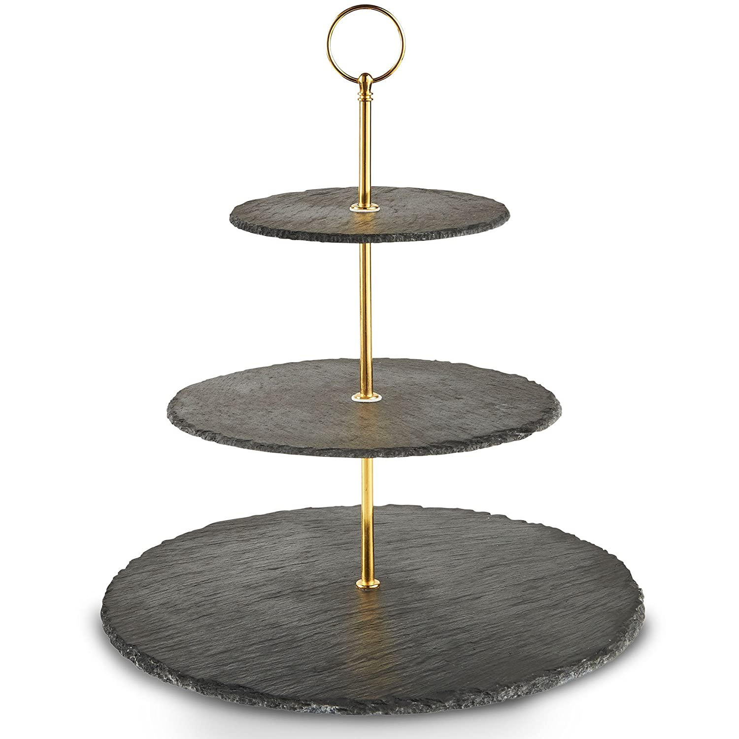 VonShef 3 Tier Round Cake Stand Natural Slate with Carry Handle